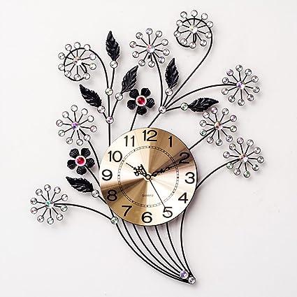 Flowers Iron wall clock Creative Quartz clock decoration Wall clock bedroom Mute Pocket watch Crafts