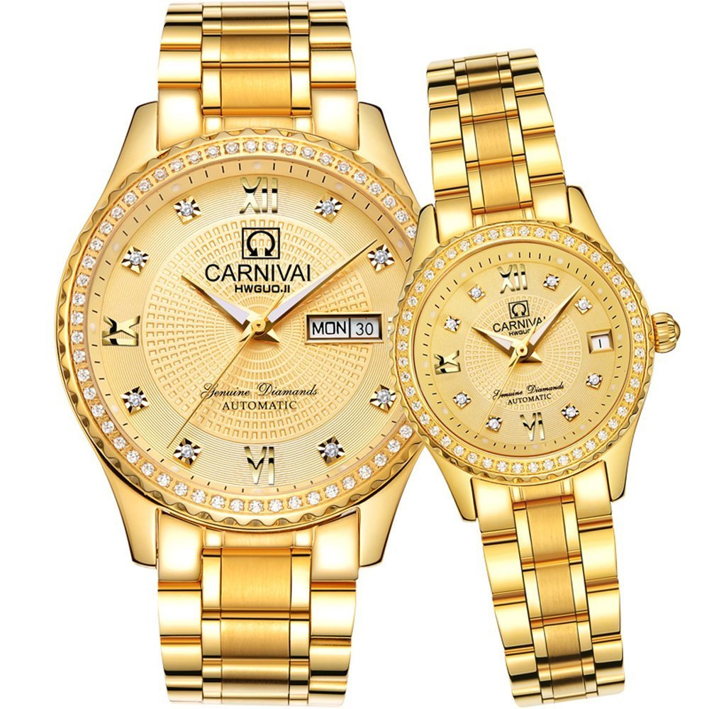 Men and Women Automatic Mechanical Watch Couple Sapphire Glass Watches Romantic for Her or His Gift Set 2 (Gold) by MASTOP