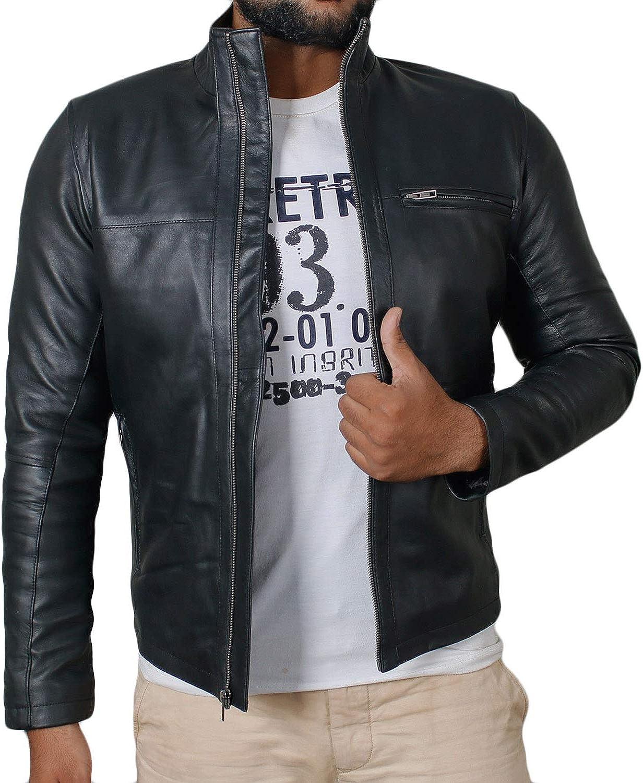 Laverapelle Mens Genuine Lambskin Leather Jacket (Black, Classic Jacket) - 1501135