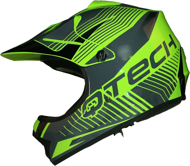 M Verde Casco MOTOCROSS per Bambino Moto Cross Enduro ATV MX BMX Quad Nero Opaco 55-56cm