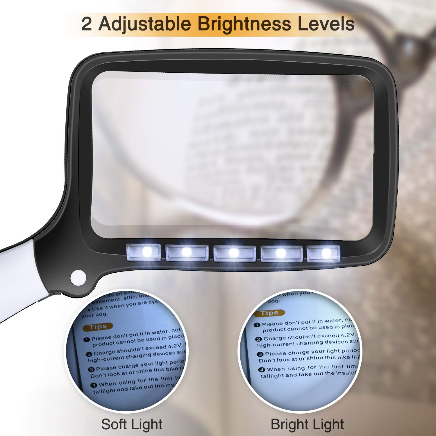 Books 2X Foldable Handheld Rectangular Reading Magnifier for Seniors Low Vision Unimi Magnifying Glass with 5 LED Lights Newspapers /& Maps Magazines Pages 2 Lighting Modes