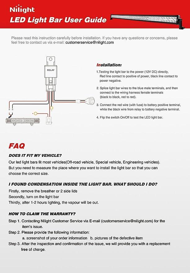 Nilight NI 300W 01A LED Light Bar 52 Inch LED Work Light Spot Flood ...