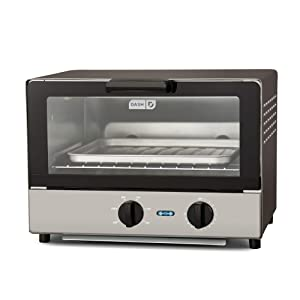 Dash Compact Toaster Oven Cooker for Bread, Bagels, Cookies, Pizza, Paninis & More with Baking Tray, Rack + Auto Shut Off Feature - Graphite