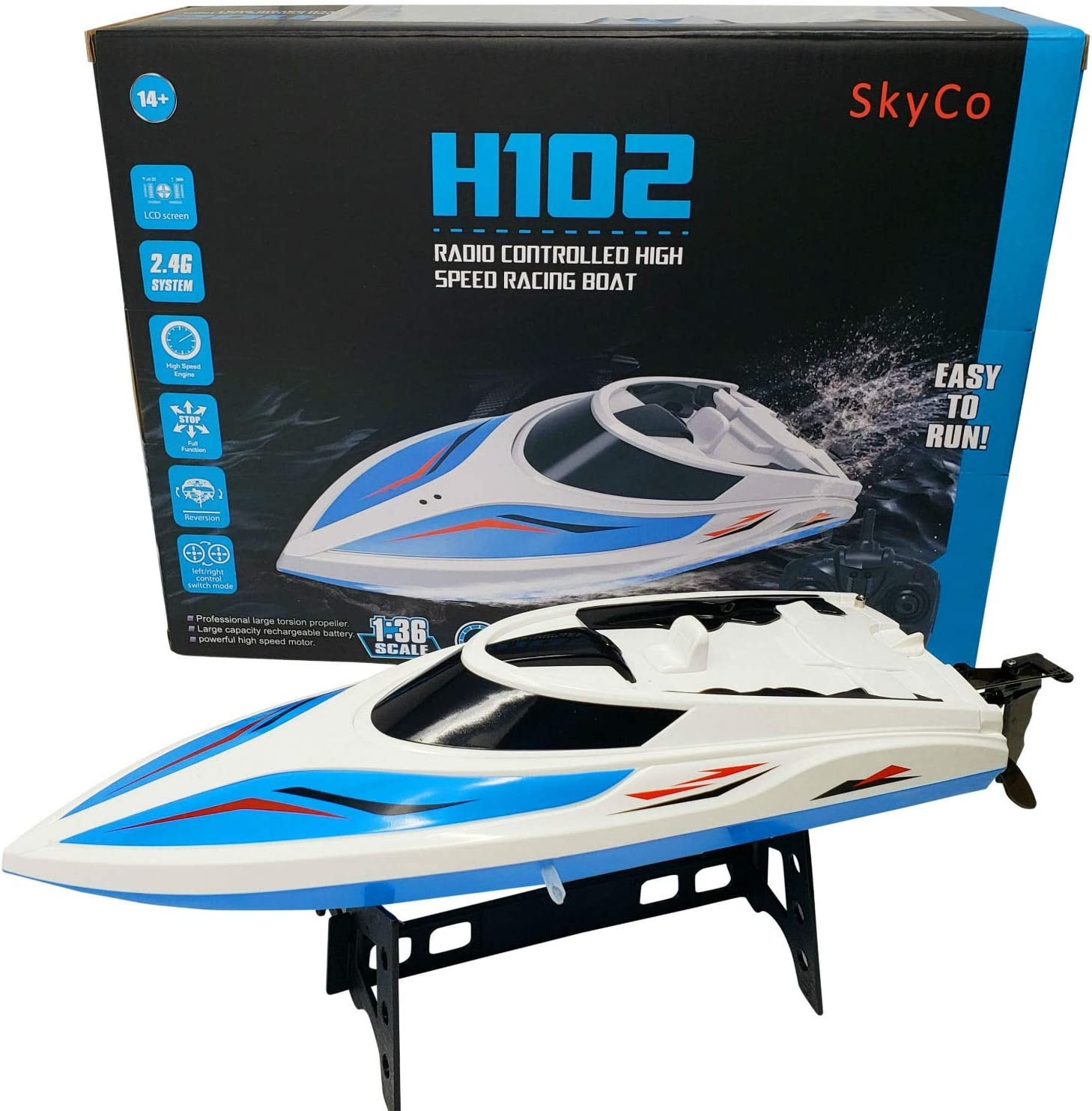 SkyCo Remote Control Boats for Pools and Lakes Rc Boat for Kids or Adults, Outdoor Adventure Pool Toys, High Speed Remote Control Boat Toy for Boys and Girls Bonus Extra Battery (Blue)