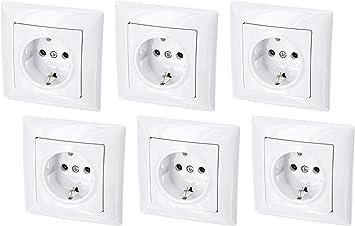 Juego de 6 enchufes para empotrar (serie G1, color blanco): Amazon.es: Bricolaje y herramientas