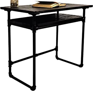 FURNITURE PIPELINE Industrial Writing Desk with Lower Shelf, Metal with Reclaimed Aged Wood Finish, Black Steel Pipes and Fittings with Dark Brown Stained Wood