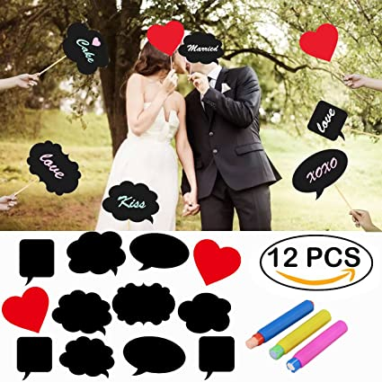 Amazoncom 12pcs Photo Booth Wedding Props Signs Larger Size