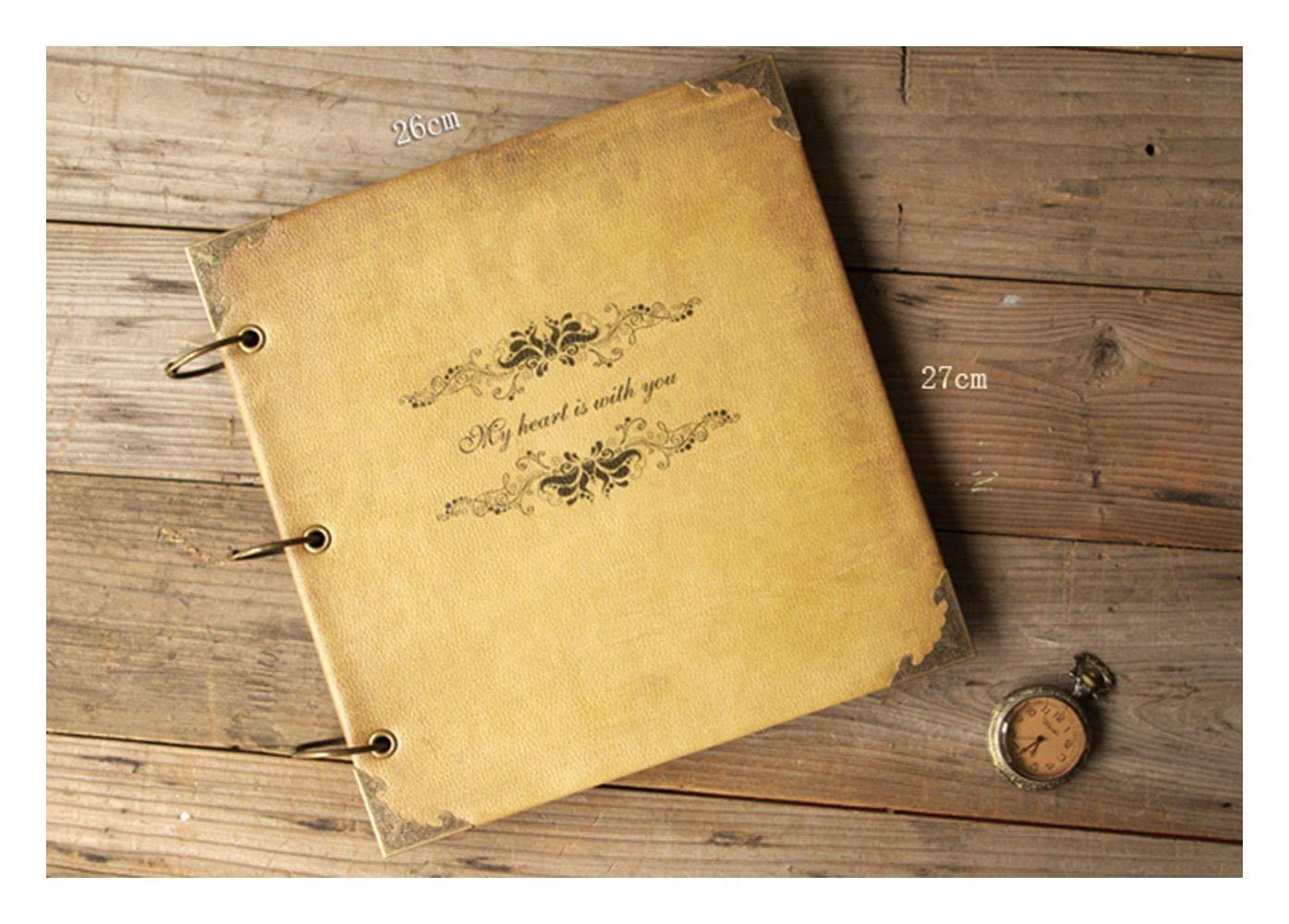 ZHAOXIANGXIANG Bricolage À La Main Vintage Photo Album Livre Scrapbooking Kraft Cadeau Créatif Couples,Black