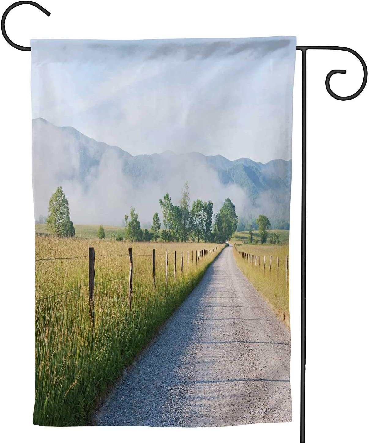 Hitecera Morning in Cades Cove The Smoky Mountains Tennessee,Welcome Garden Flag Double Sided Outdoor Decoration Fog 28''x40''