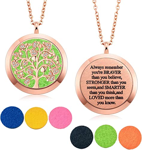 Scent Pad Tree of Life Pendant Aromatherapy Pendant Photo Pendant Stainless Steel With custom photo Aromatherapy Necklace