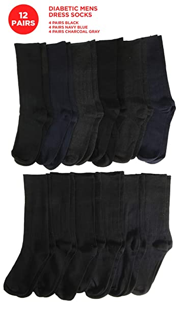 c5f7398a198a Amazon.com: 12 Pairs of Mens Diabetic Dress Socks, 80% Cotton, Solid ...
