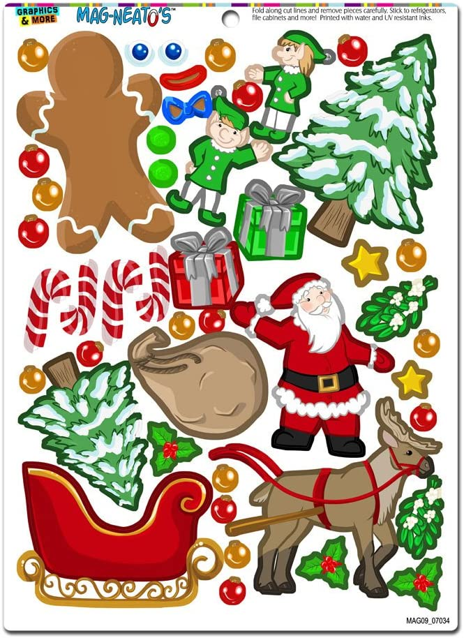 Christmas Mash-up - Holiday Santa Reindeer Elves Gingerbread Man Tree Presents Novelty Gift Locker Refrigerator Locker Vinyl Magnet Set