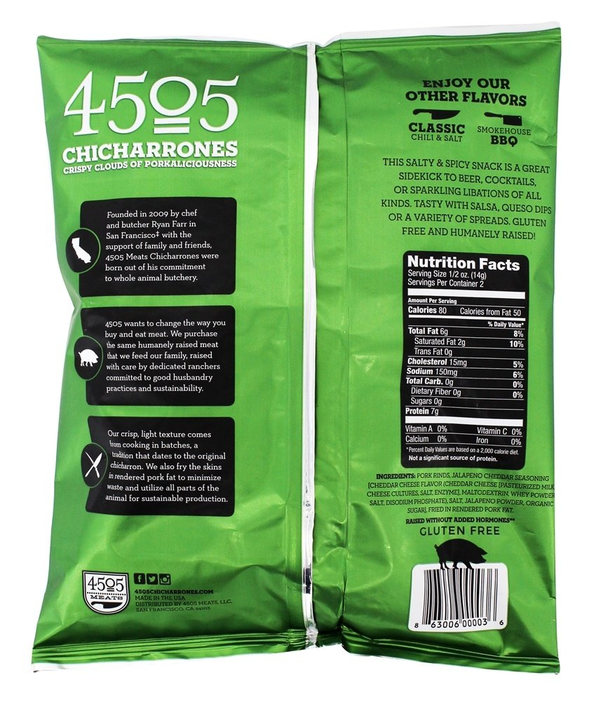 4505 Chicharrones (Fried Pork Rinds) (Jalapeno Cheddar), 24 Pack by Unknown (Image #2)