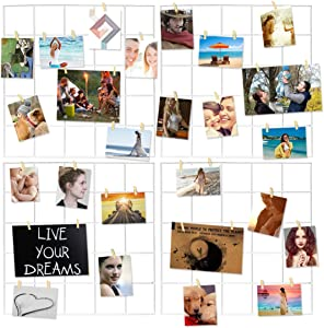 Photo Hanging Display for Wall Decor,4 Pcs Multifunction Metal Mesh Wire Grid Panel with 30 Clips (White)