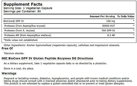 Amazon.com: Vitacost gluten enzima DG biocore dpp IV – -100 ...
