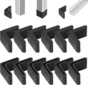 Glarks 20Pcs 40x40x4mm Black Rubber Leg Covers L Shaped Furniture Angle Iron Foot Pads for Chair Bench Table Bed Angled Metal Legs (40x40x4MM)