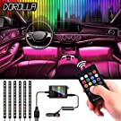 LED Neon Strip Lights for Cars, Dorolla 6pc Multi-Color LED Car Interior Underdash Lighting Kit with RF Wireless Remote -Universal Fitment -SYNC with Music - Powered by 12V DC Car Charger