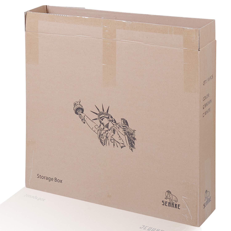 mit Klebeband SEMAXE Aufbewahrungsboxen//Kartonboxen 10 St/ück braun 35,6 x 27,9 x 25,4 cm schnell faltbar einfach zu transportieren