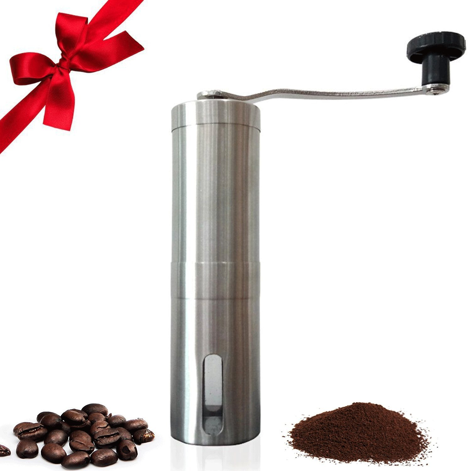 Manual Coffee Bean Grinder Portable Mini Well made Conical Burr Mill Brushed Stainless Steel Coffee Maker Precision Brewing For Camping Kitchen Road Trip