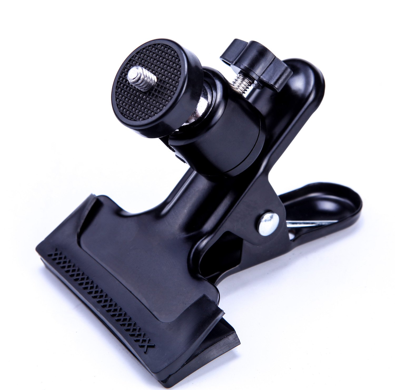 EZARC Camera Clip Clamp Laser Bracket Flash Reflector Mount Holder 360 Degree Rotating Base with 1/4' Screw Ball for Line Laser Level, Studio Backdrop Camera SLR, Digital SLR, Video Came