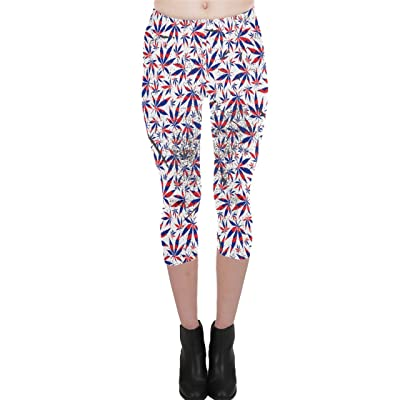PattyCandy Womens Purple White Fashion Marijuana Capri Leggings, Purple - L at Women's Clothing store