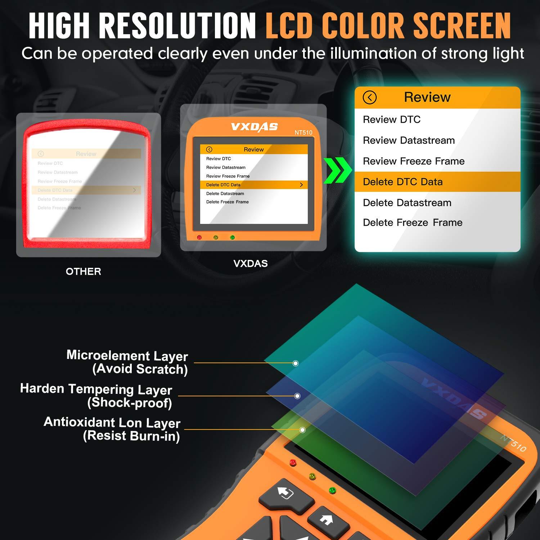 VXDAS NT510 Professional OBD2 Scanner Enhanced OBDII Auto Diagnostic Code Reader Check Engine Light for All OBD II Car After 1996