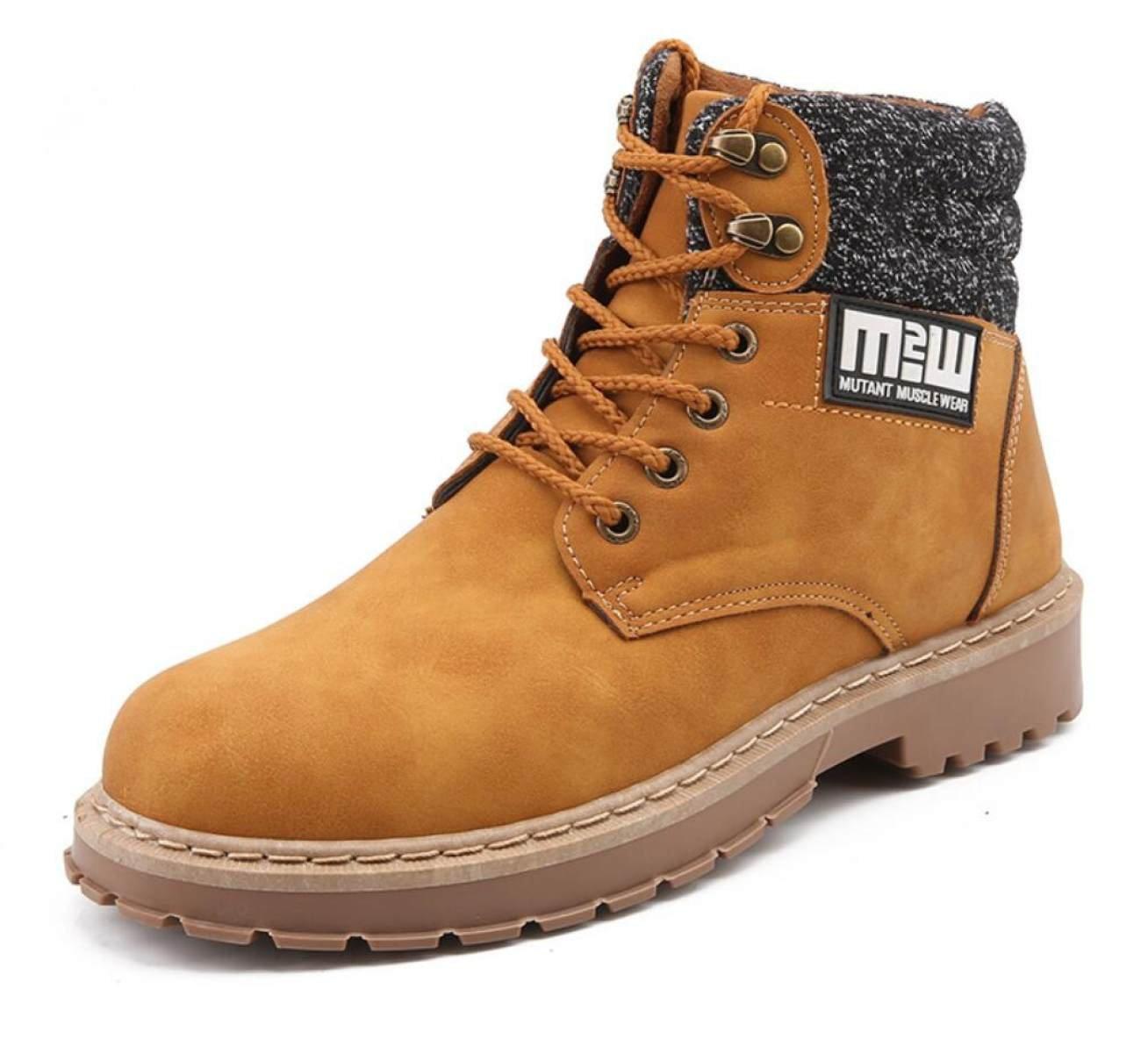 LINYI Männer Martin Stiefel Leder Mode Tooling Schuhe Sport Trekking Walking