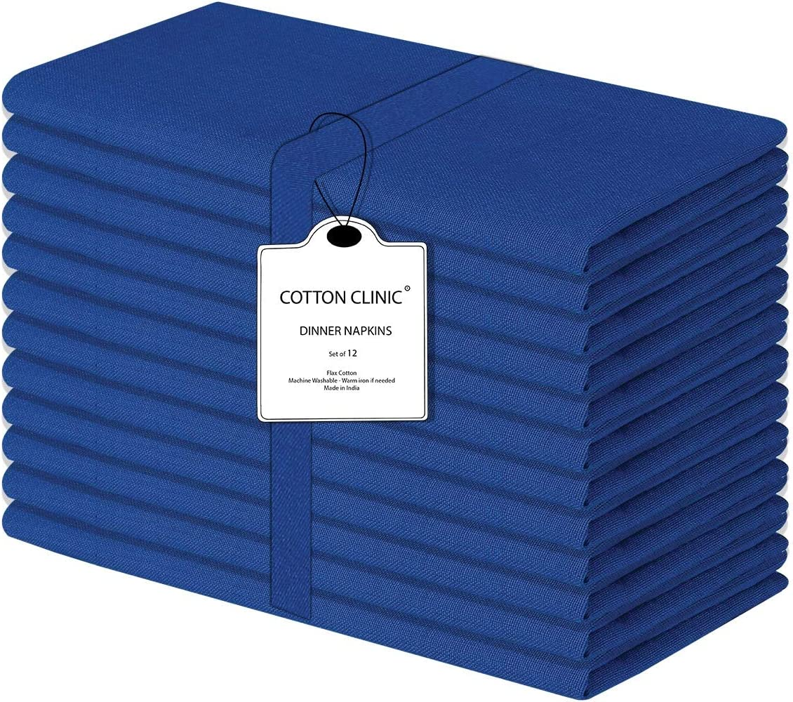 Cotton Clinic Cloth Dinner Napkins 20x20-12 Pack, 100% Cotton Soft and Comfortable Cocktail Napkins, Wedding Dinner Napkins with Mitered Corners and Generous Hem - Navy