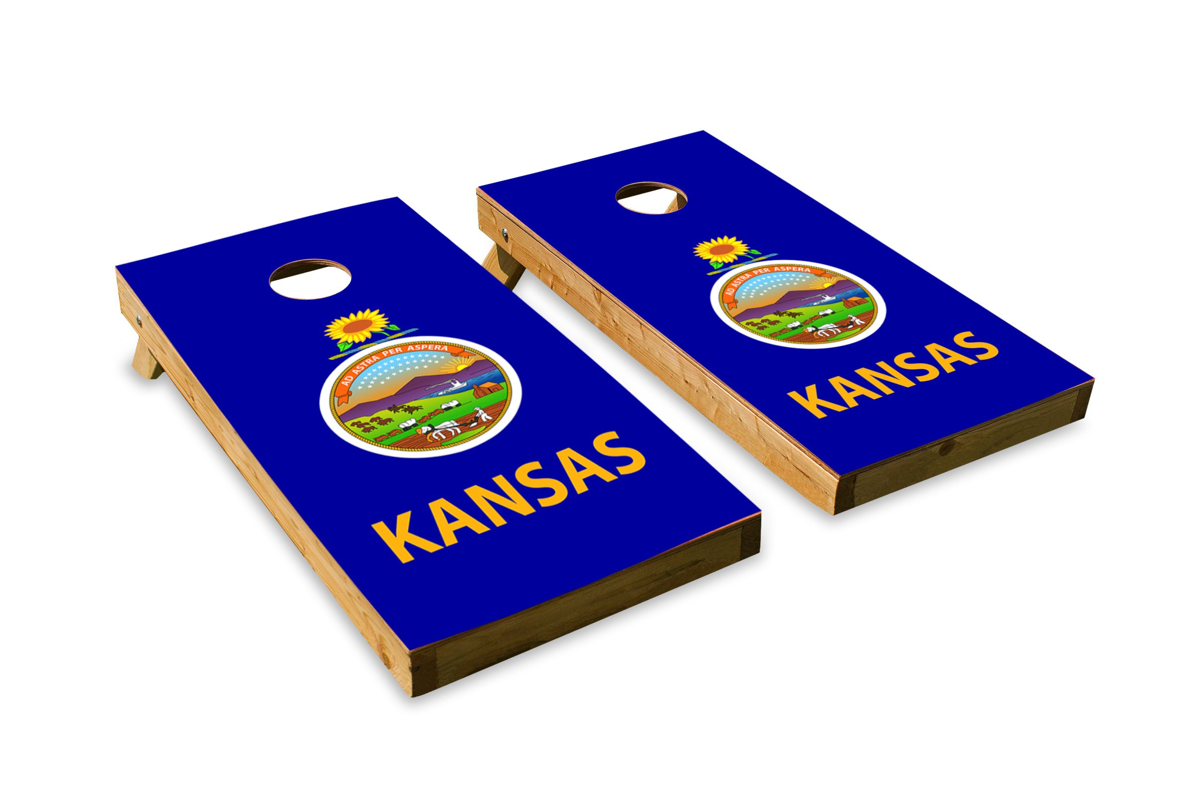 Kansas State Flag - Cornhole Crew - ACA Regulation Size Cornhole Board Set by The Cornhole Crew