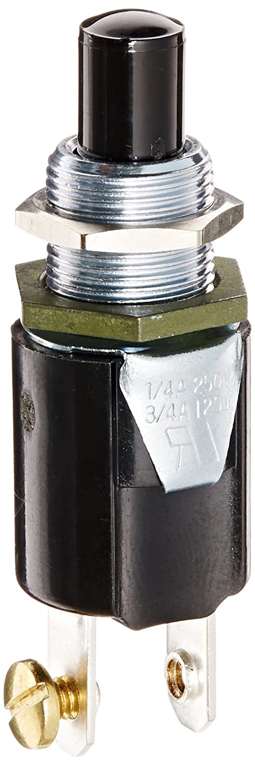 Push Button Switch, Off-On Circut Function, SPST N.O, Nylon Actuator, 0.75/0.25 amps at 125/250 VAC