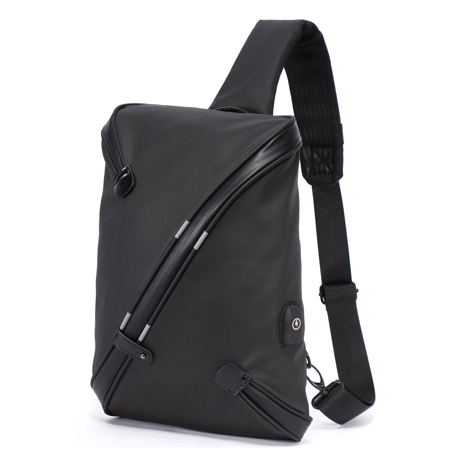 Expandable Chest Sling Bag with USB Charging Port for Men, Waterproof