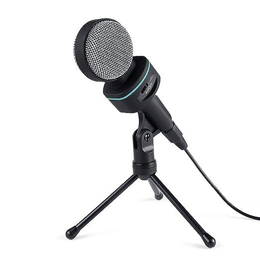 65 opinioni per AUKEY Microfono a Condensatore con Supporto da Tavolo 3,5 mm per Computer