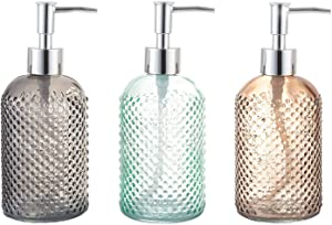 Cutiset 3 Pack Assorted Glass 15 Ounce Lotion Soap Dispenser Bottle with Pump for Bathroom, Kitchen