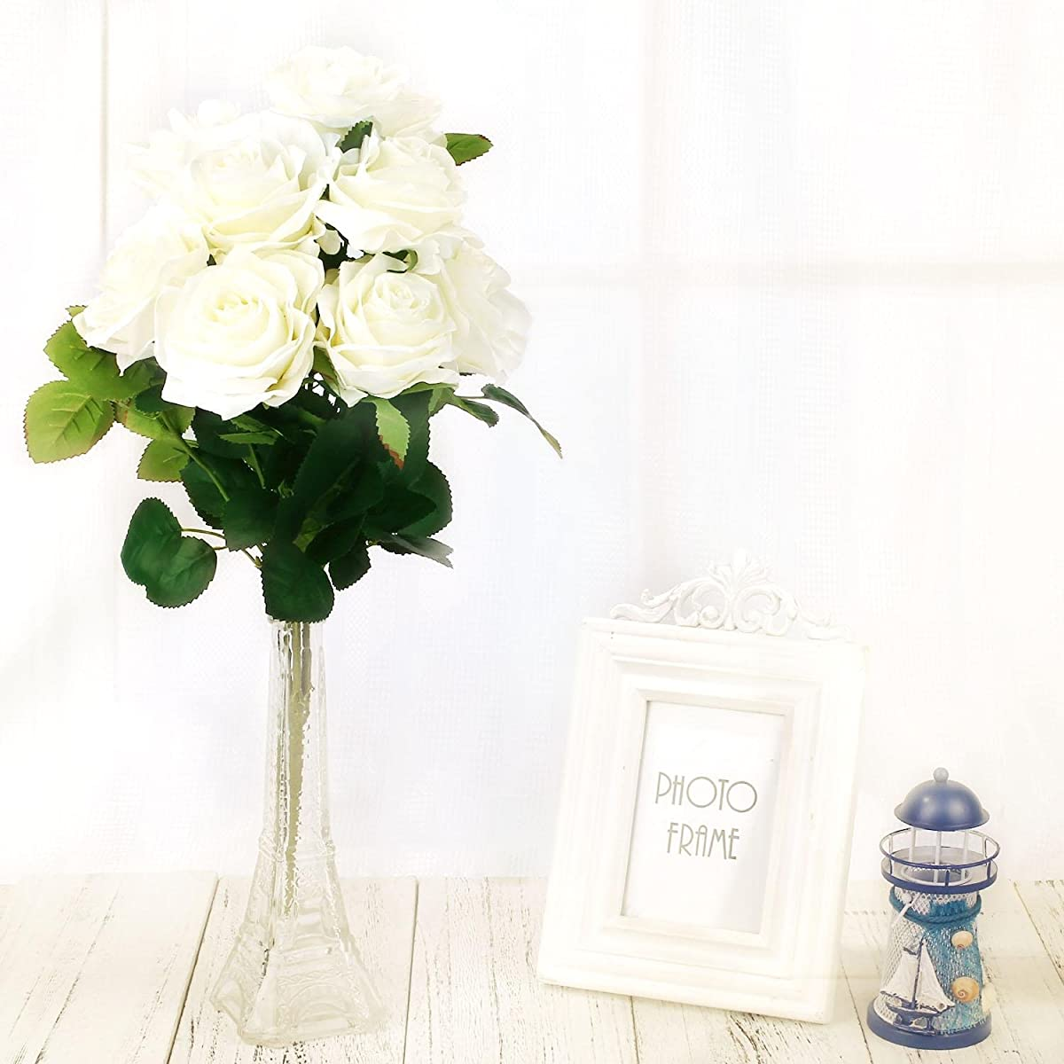 SOLEDI Silk Rose White 10 Heads Artificial Flower French Rose Fake for Bridal Bouquet Wedding Living Room Table Home Garden Decoration