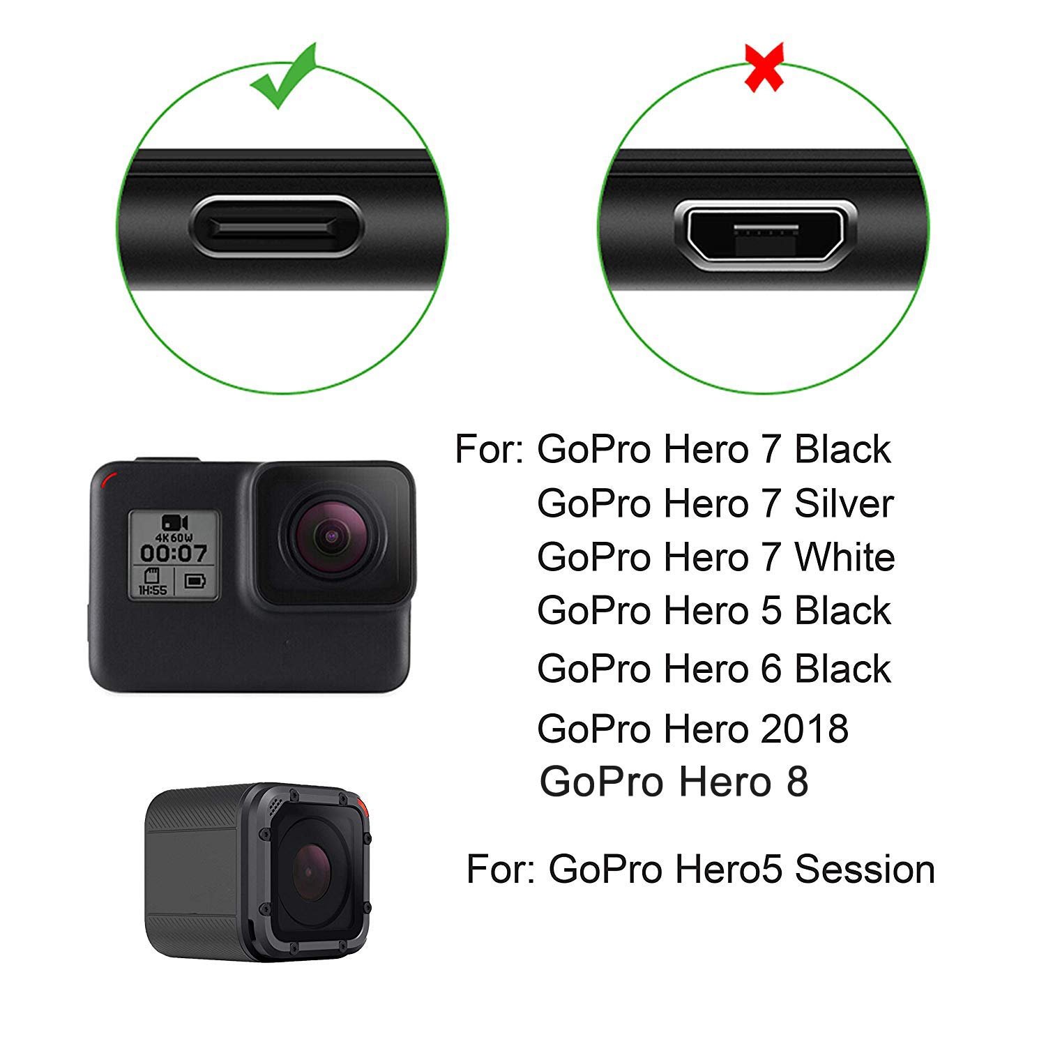 Suptig Charging Cable Type-C Charging Cable For Gopro Hero 8 Hero 7 Black Gopro Hero 7 Silver Gopro Hero 7 White Gopro Hero 6 Black Gopro Hero 5 Black Gopro Hero5 Session Gopro Hero 2018 2 Pack(Black) 713V6C4vY2L