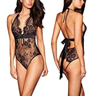 984e890532d ALLoveble Women Lace Babydoll Teddy Underwear Black