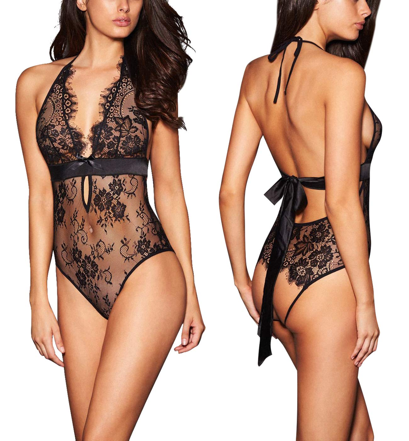 ba74bbb6a0f Galleon - ALLoveble Women Lace Babydoll Teddy Underwear Black (XL ...