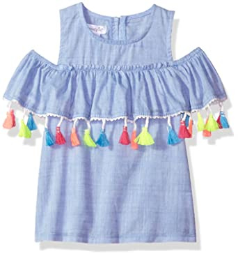 effe526c256ee Amazon.com  Mud Pie Baby Girls Chambray Cold Shoulder Tassel Top  Clothing