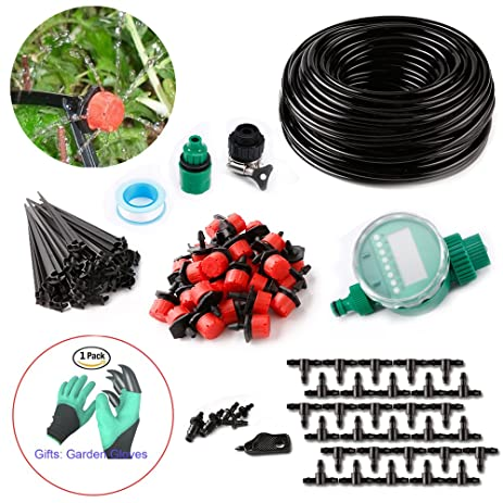 Amazon Com Diy 82ft Micro Drip Irrigation System With Hose Timer