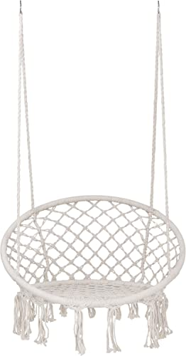 SUPER DEAL New Hammock Chair Macrame Swing – Bohemian Style Cotton Rope Mesh Swing Hanging Chair for Indoor Outdoor – Perfect Decor and Relaxation Choice for Home, Garden, Patio, Yard