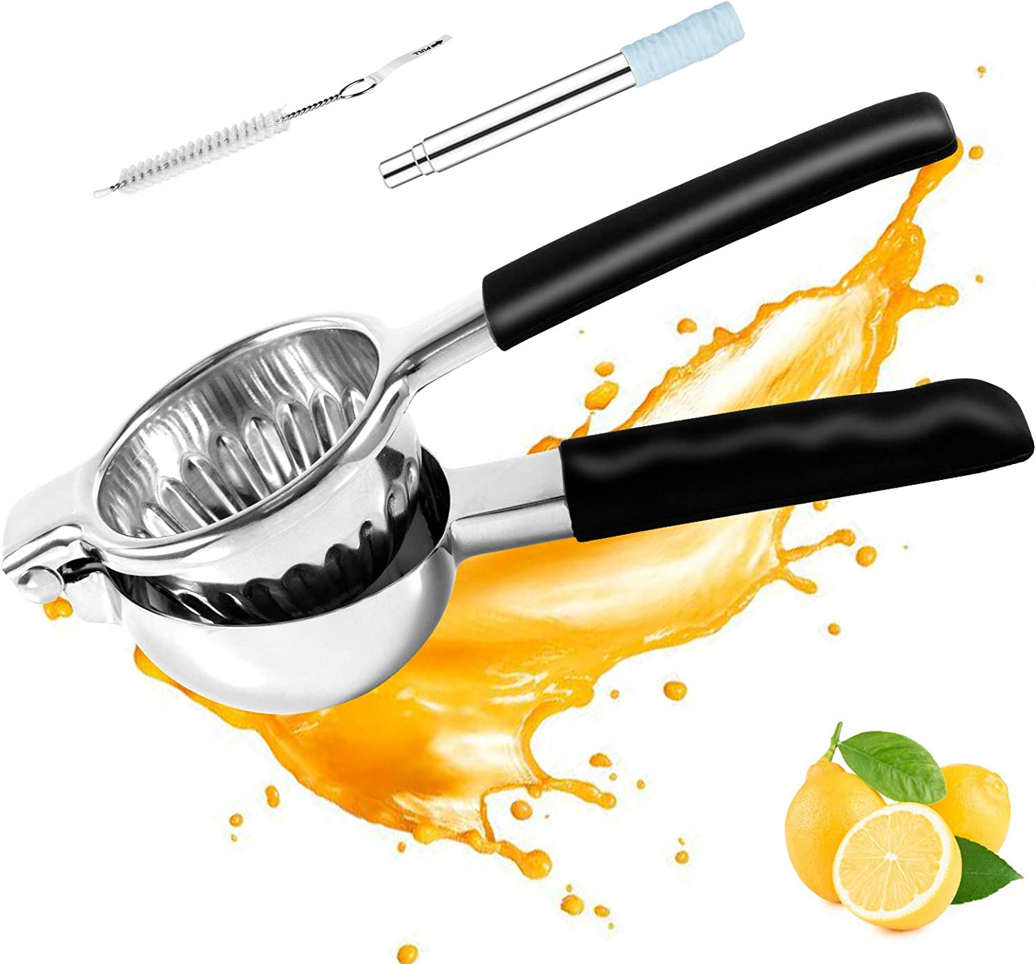 Lemon Juicer Stainless Steel with Silicone Handles Manual Citrus Juicer Easy Use Stainless Steel Fruit Juicer Hand Squeezer with Silicone Stainless Steel Straw and Mini Straw Brush