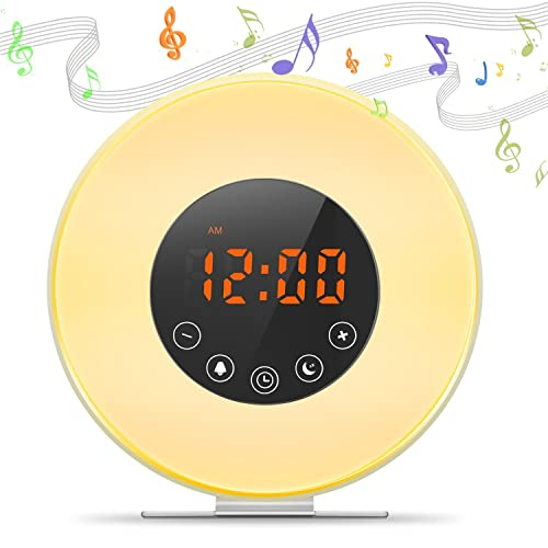 Digital Alarm Clock Sunrise and Sunset LED Wake Up Light Table Lamp Bed Night Light, Natural Sounds, Sleep Function, FM Radio (6 colors, touch control)