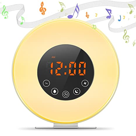 Despertador Digital Alarma de Reloj Amanecer y Atardecer LED Wake Up Light Lámpara de Mesa Cama Luz Nocturna, Sonidos Naturales, Función Sleep, Radio ...