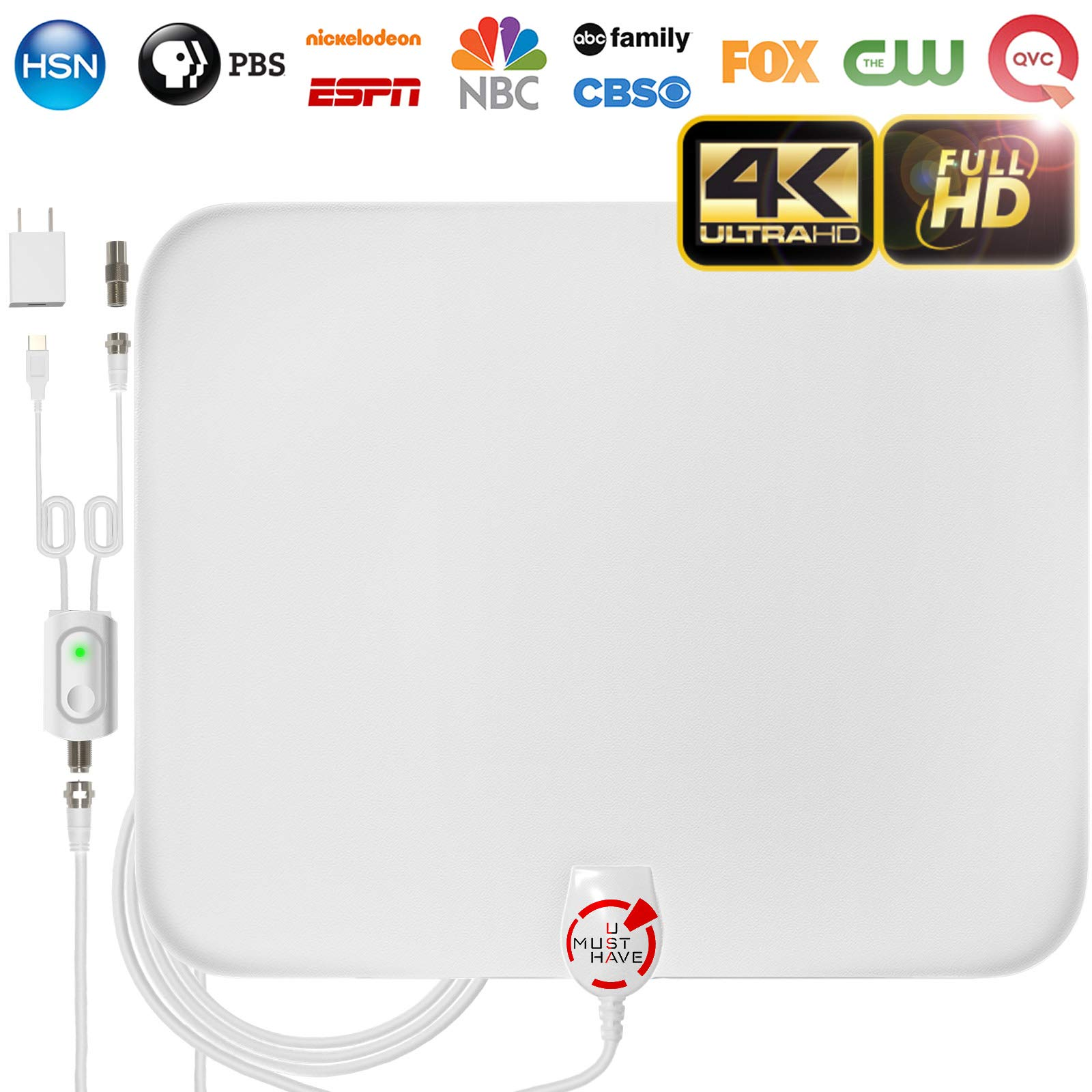 [Latest 2018] Amplified HD Digital TV Antenna Long 65-80 Miles Range – Support 4K 1080p and All Older TV's Indoor Powerful HDTV Amplifier Signal Booster - 18ft Coax Cable/AC Adapter