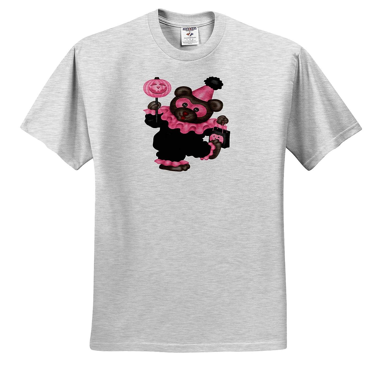 3dRose Anne Marie Baugh Adult T-Shirt XL Illustrations ts/_318011 Cute Pink Bear Dressed As A Clown Illlustration