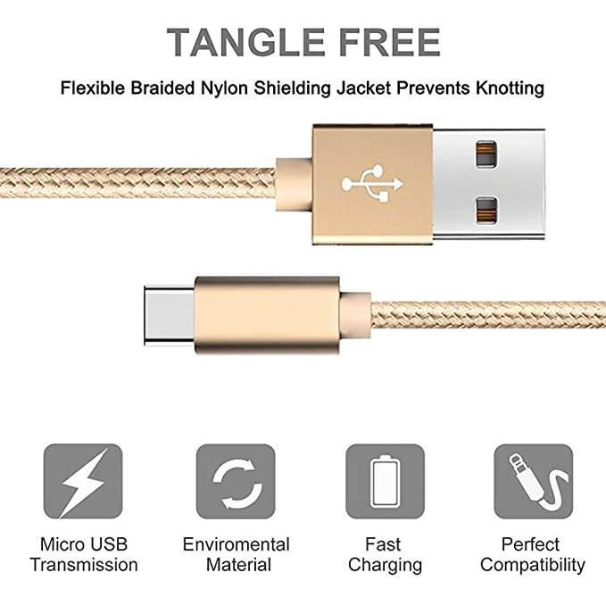 3 Pack 3/6/10 Feet USB Type C Charger Cord for Google Pixel 3 Pixel 2 Pixel XL Pixel 2 XL Nexus 6P BlackBerry KEY2 LE Keyone Motion LG G7 G7+ V40 ...