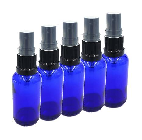 Botella de vidrio azul de 5 x 30 ml con atomizador NEGRO / Spray Top.