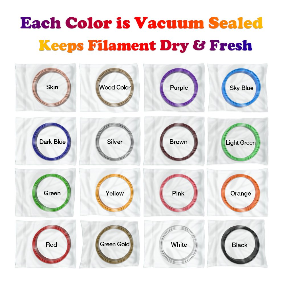 3D Pen Filament Refills PLA 16 Colors 40 Feet 1.75mm with 200 Stencils eBook Total 640 Feet 3D Art Pen Filament for TIPEYE, Canbor, MYNT3D, DigiHero, Zerofire, Dikale, BeTIM 3D Printing Pen and etc by TIPEYE (Image #5)