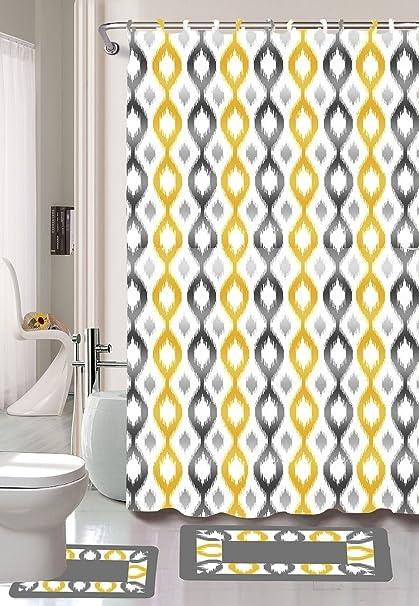 Gorgeous Home 1 Shower Curtain 12 Fabric Hooks And A Set Of 2 Bathroom Bath Mats