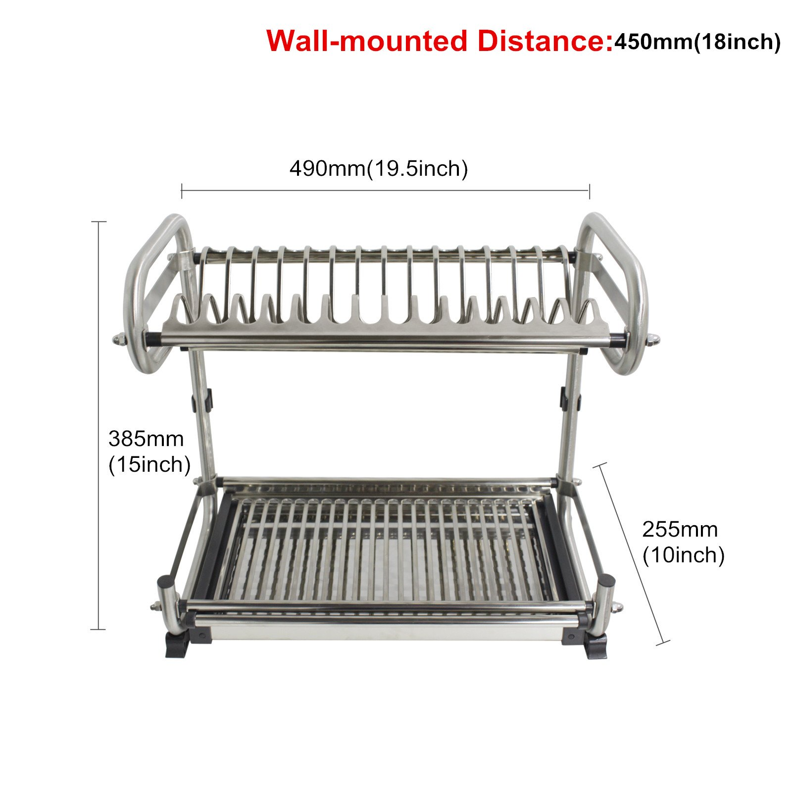 Probrico 2-Tier Stainless Steel Dish Drying Dryer Rack 490mm(19.5'') Drainer Plate Bowl Storage Organizer Holder Wall Mounted Distance:450mm(18'')